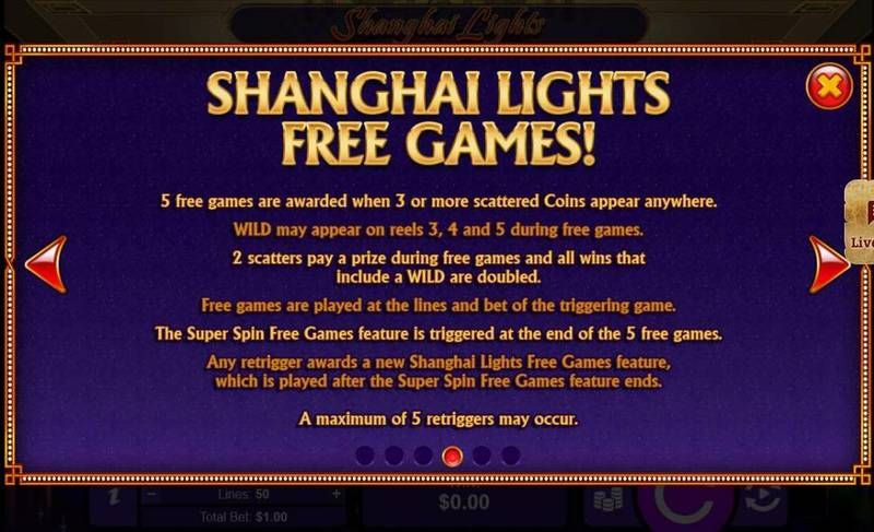 Shanghai Lights RTGSlot Free Spins Feature